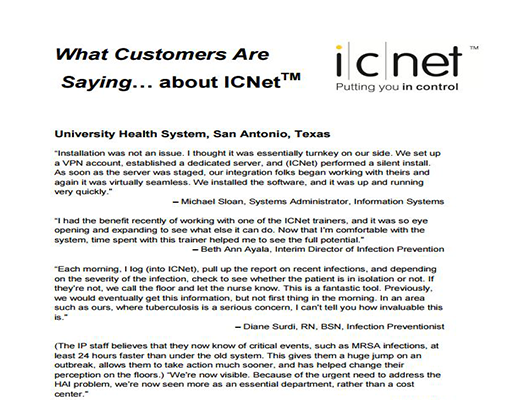What Customers Are Saying...  About ICNet