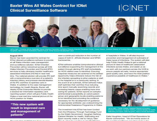 Baxter Wins All Wales Contract for ICNet  Clinical Surveillance Software