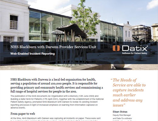 NHS Blackburn With Darwen Provider Services Unit Web-Enabled Incident Reporting
