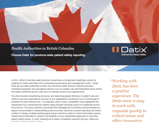 Health Authorities in British Columbia Choose Datix For Province-Wide Patient Safety Reporting