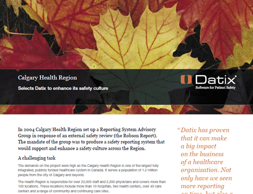 Calgary Health Region Selects Datix To Enhance Its Safety Culture