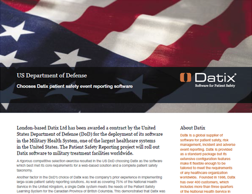 US Department of Defense Chooses Datix Patient Safety Event Reporting Software