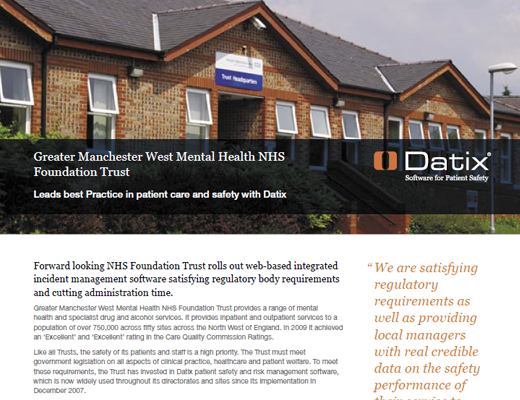 Greater Manchester West Mental Health NHS Foundation Trust Leads Best Practice In Patient Care and Safety With Datix