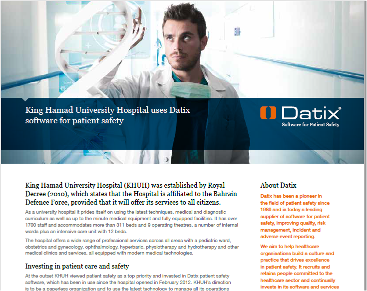 King Hamad University Hospital Uses Datix Software For Patient Safety