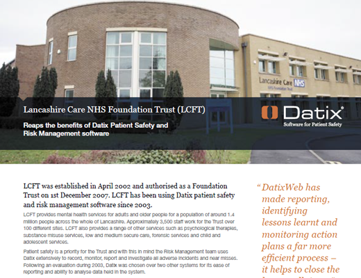Lancashire Care NHS Foundation Trust (LCFT) Reaps The Benefits of Datix Patient Safety and Risk Management Software