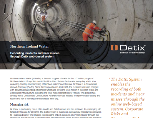 Northern Ireland Water Recording Incidents and Near Misses Through Datix Web-Based System