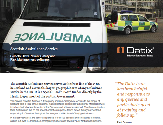 Scottish Ambulance Service Selects Datix Patient Safety and Risk Management Software