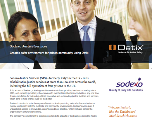Sodexo Justice Services Creates safer environment for prison community using Datix