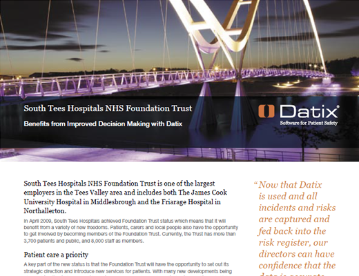 South Tees Hospitals NHS Foundation Trust Benefits from Improved Decision Making with Datix
