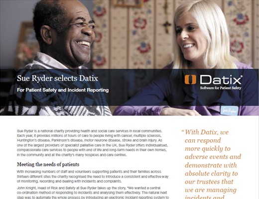 Sue Ryder selects Datix For Patient Safety and Incident Reporting