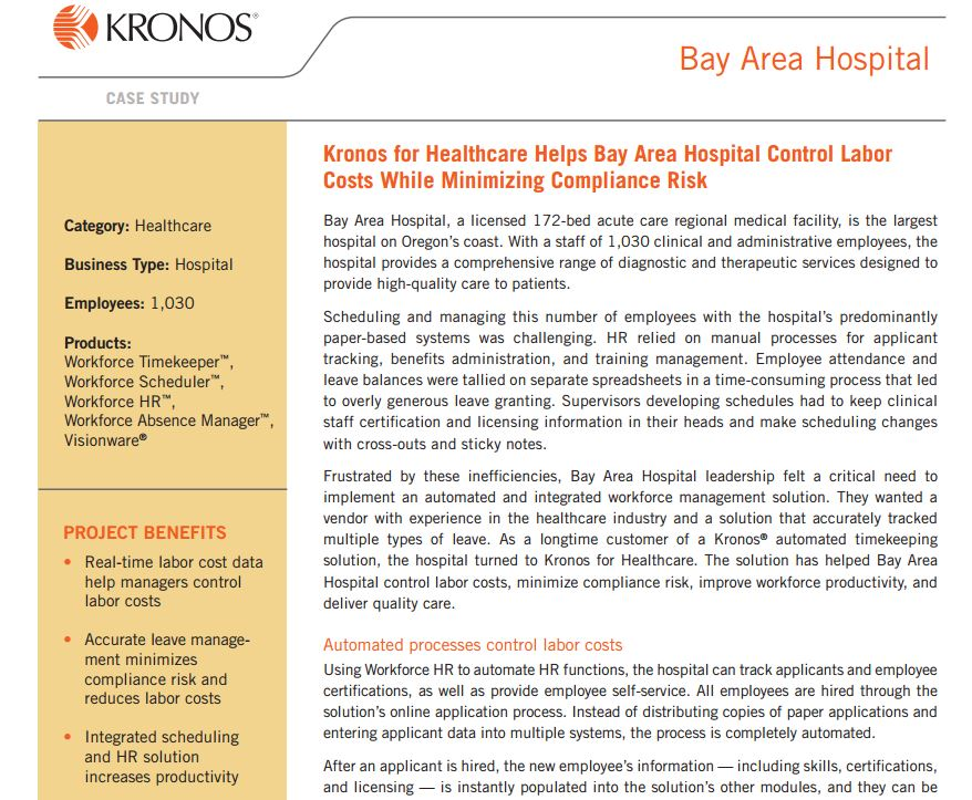 Kronos for Healthcare Helps Bay Area Hospital Control Labor Costs While Minimizing Compliance Risk