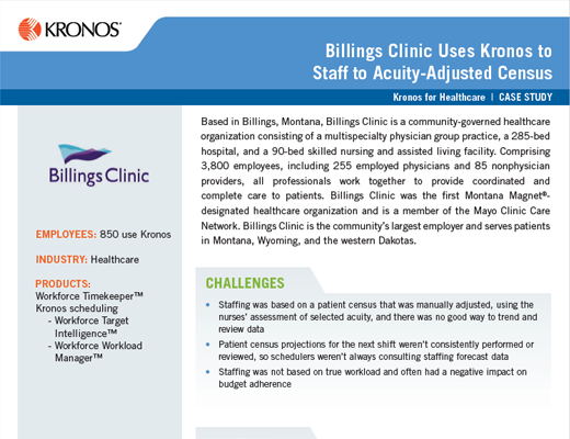 Billings Clinic Uses Kronos to Staff to Acuity-Adjusted Census