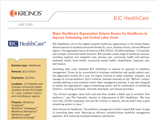 Major Healthcare Organization Selects Kronos for Healthcare to Improve Scheduling and Control Labor Costs