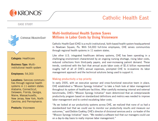 Multi-Institutional Health System Saves Millions in Labor Costs by Using Visionware