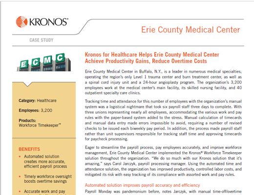 Kronos for Healthcare Helps Erie County Medical Center Achieve Productivity Gains, Reduce Overtime Costs