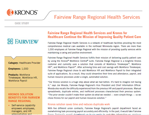 Fairview Range Regional Health Services and Kronos for Healthcare Continue the Mission of Improving Quality Patient Care