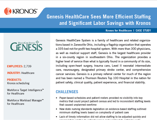 Genesis Health Care Sees More Efficient Staffing and Significant Labor Savings with Kronos