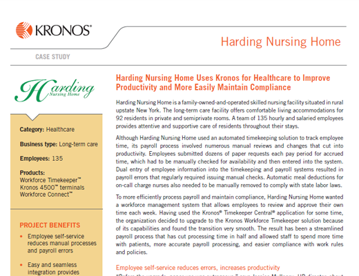 Harding Nursing Home Uses Kronos for Healthcare to Improve Productivity and More Easily Maintain Compliance