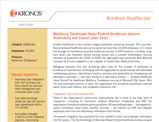 Workforce Timekeeper Helps Kindred Healthcare Improve Productivity and Control Labor Costs