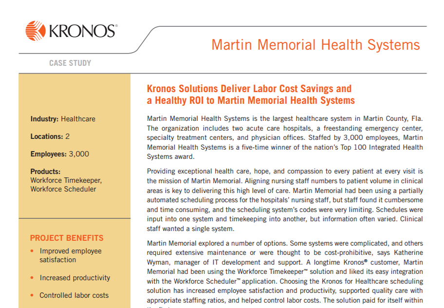 Kronos Solutions Deliver Labor Cost Savings and a Healthy ROI to Martin Memorial Health Systems