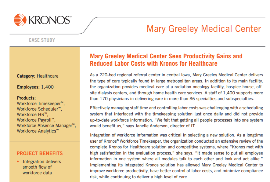 Mary Greeley Medical Center Sees Productivity Gains and Reduced Labor Costs with Kronos for Healthcare