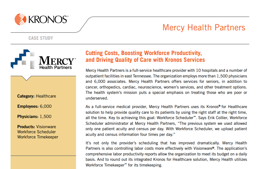 Cutting Costs, Boosting Workforce Productivity, and Driving Quality of Care with Kronos Services Mercy Health
