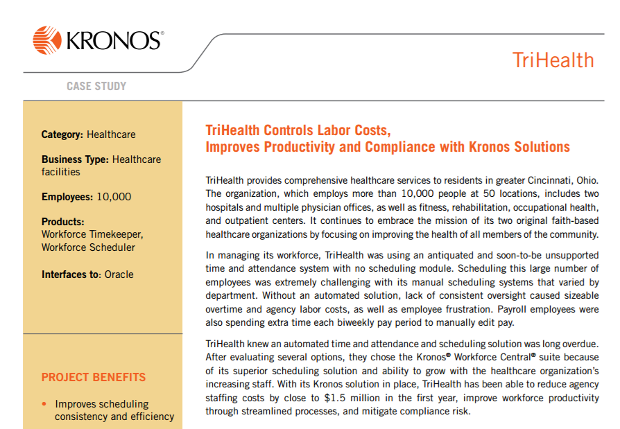 TriHealth Controls Labor Costs, Improves Productivity and Compliance with Kronos Solutions