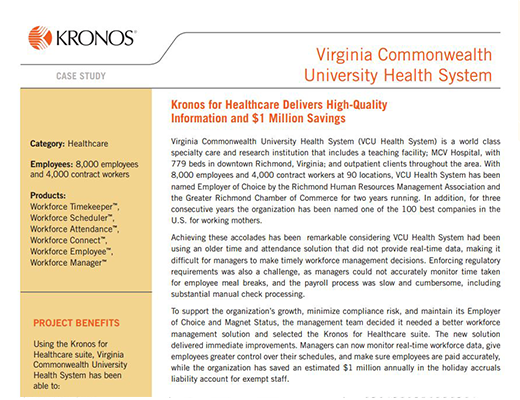 University Health Care - Kronos for Healthcare Improves Workforce Productivity for Regional Healthcare Provider