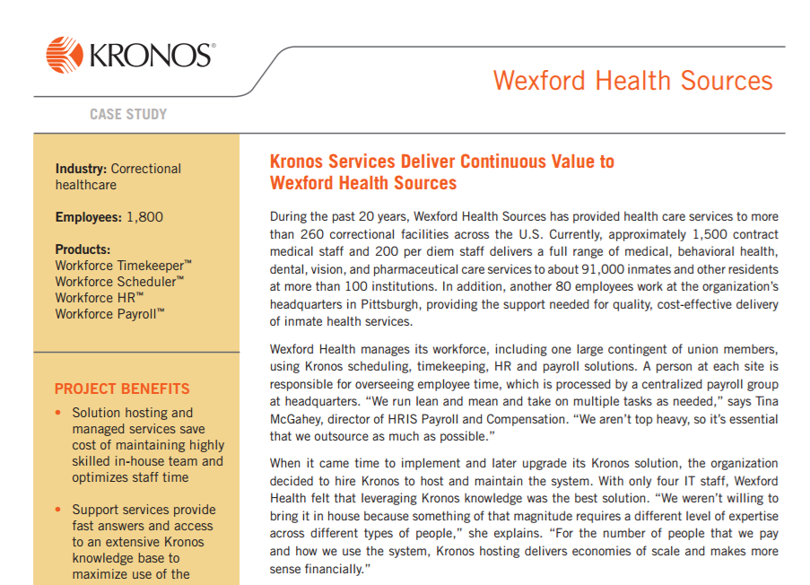 Kronos Services Deliver Continuous Value To Wexford Health Sources